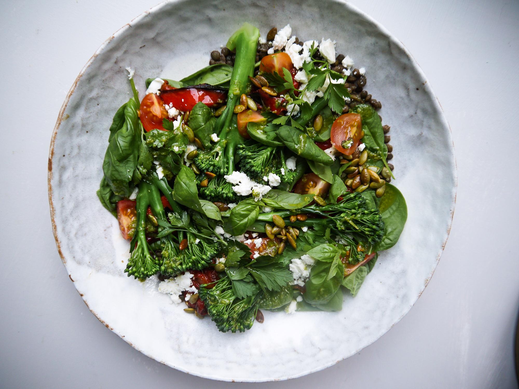 lentil & avocado platter (vegan, gf) £37.50 - (individual bowl pictured)puy lentils, roast red peppers, feta, avocado, cherry tomatoes, spicy broccoli, shredded carrots & beets, basil, seeds, rocket, chopped romaine, balsamic vinaigretteadd hummus +£7.50