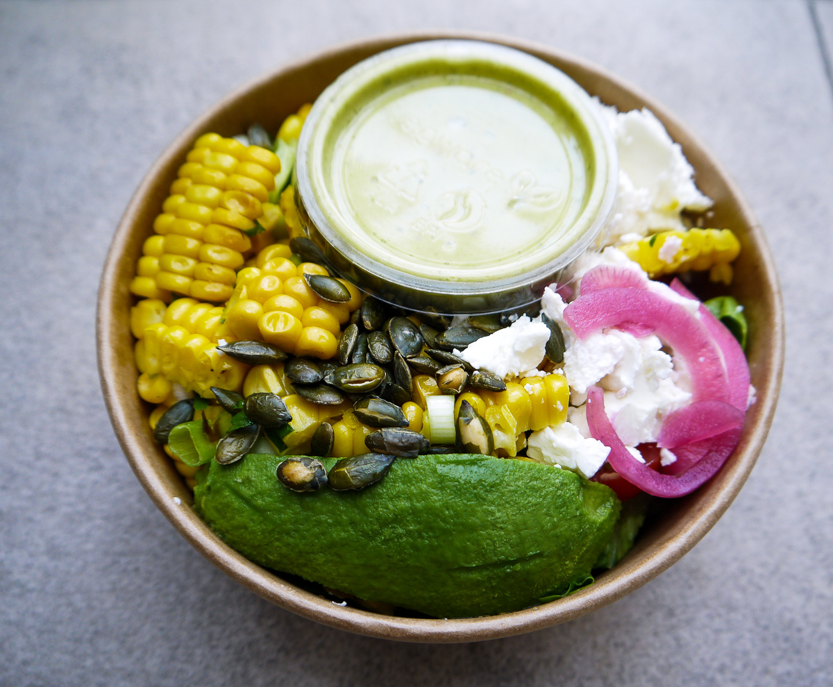 sweetcorn elote (vegetarian) £8.00 - £8.00 per person or £40 for a platter for 5grilled fresh sweetcorn, quinoa, guacamole, pickled red onion, tomato, coriander.add chicken + £1.5