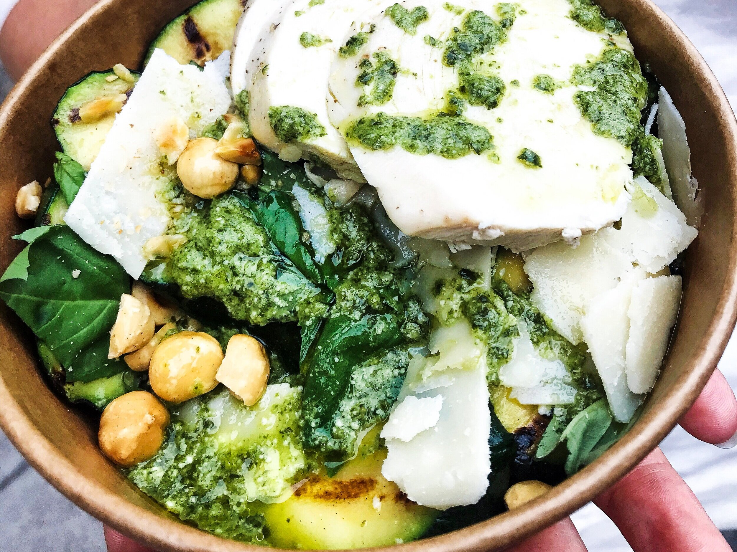 chargrilled courgette,chicken, farro,hazelnut pesto £8.50 - free range roast chicken, local chargrilled courgettes, farmers market greens, farro with a pesto dressing,£8.50 per person or £42.50 for a platter for 5add avocado +£1.50
