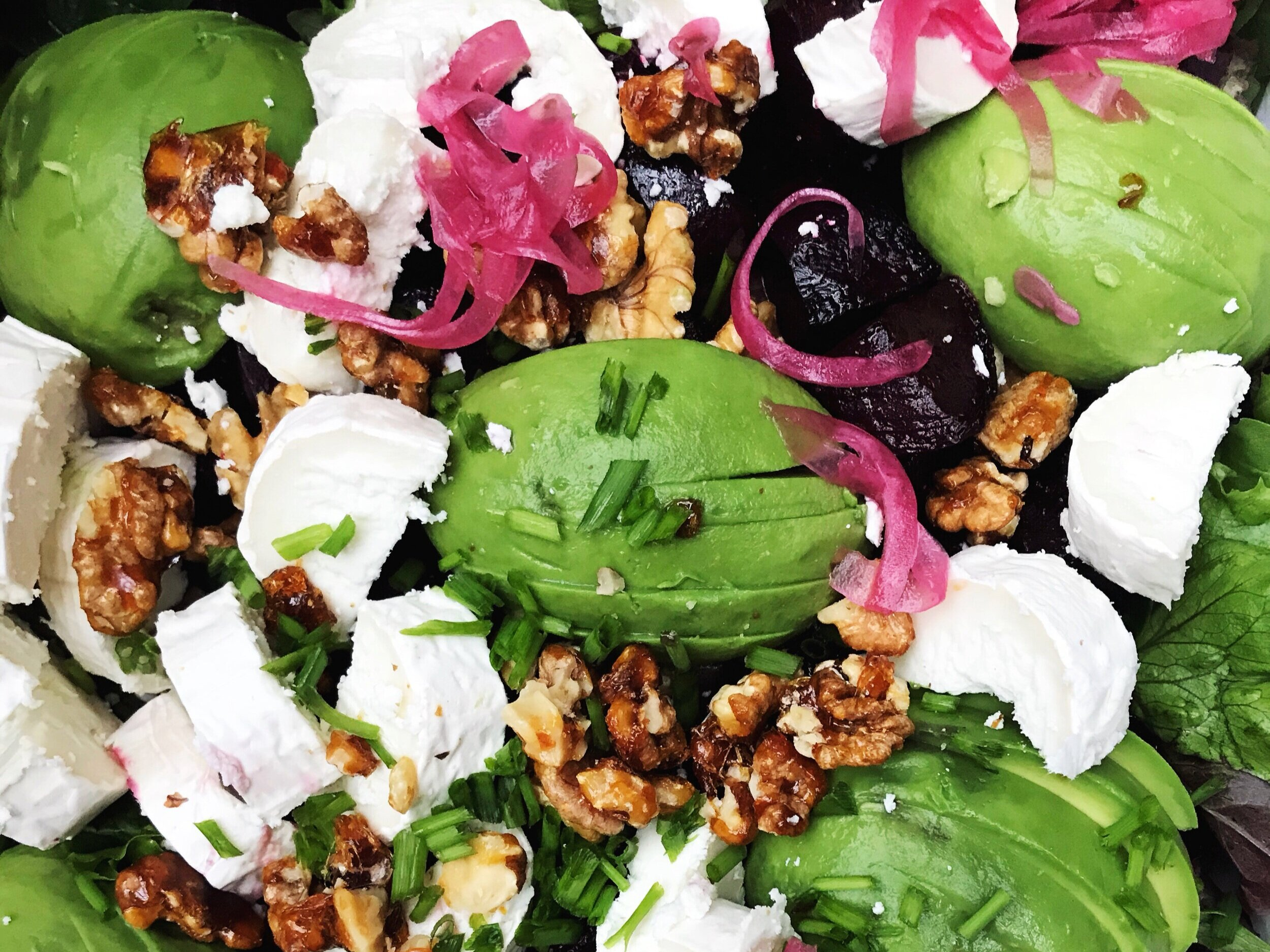 beet, and local goatscheese £8.00 - £8.00 per person or £40 for a platter for 5market greens, roast beets, caramelized walnuts, basil, goats cheese.add chicken + £1.5