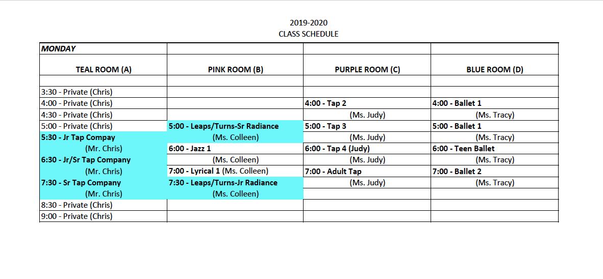 Monday Class Schedule 2019-2020