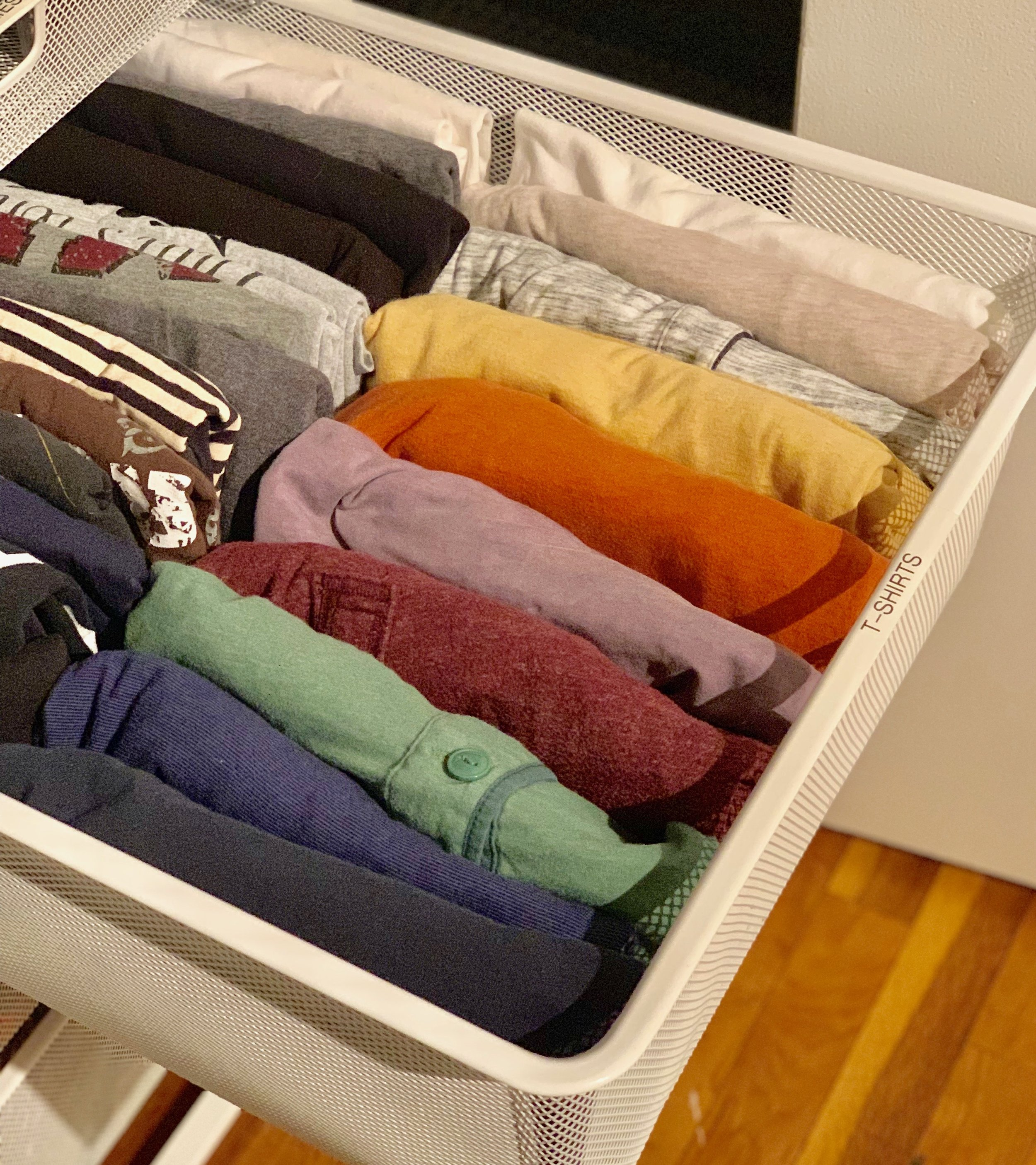 File folding lets you see everything in a drawer at once, and looks great color coded!