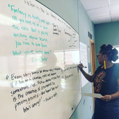 School Visit Menu - Mariama J. Lockington has over ten years of experience working as a K-12 educator in the nonprofit sector. She enjoys teaching hands-on writing workshops and speaking with young people about their stories.