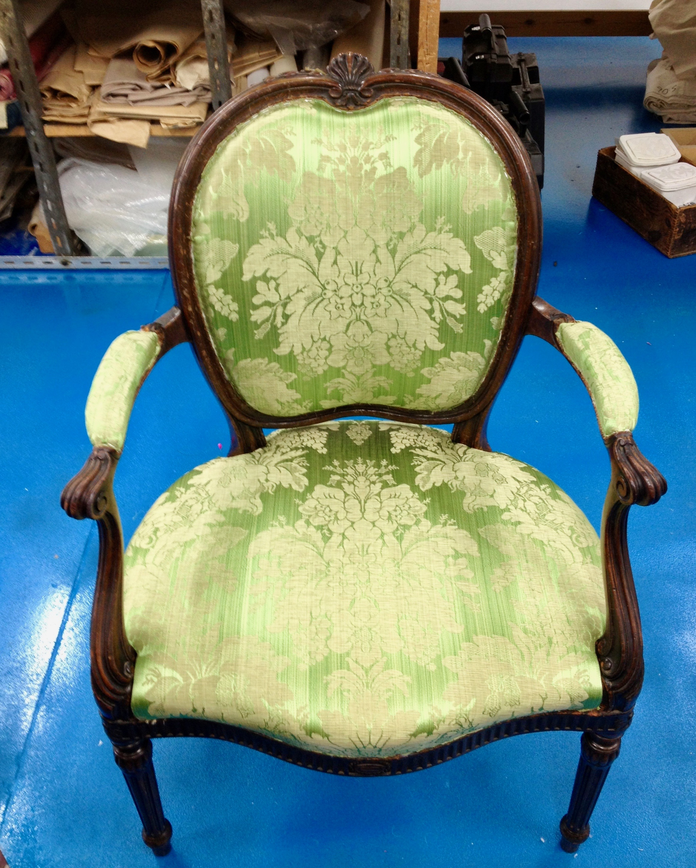 Louis 14th style chair in silk damask. Buckingham Palace.