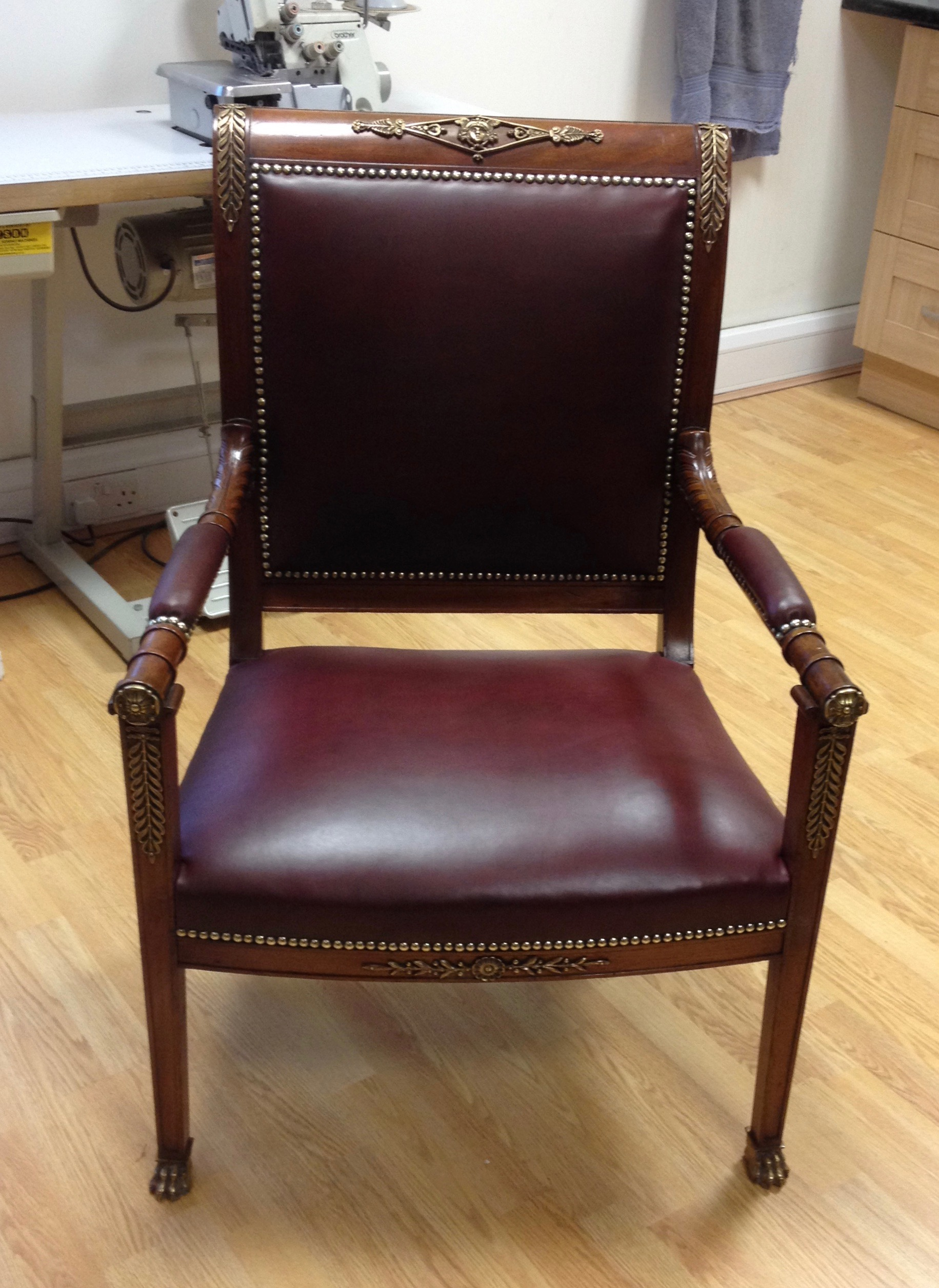 Traditionally upholstered leather desk chair. Regency period.