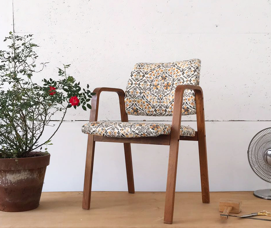 Edge Upholstery. Modern chair upholstered in traditional fabric.