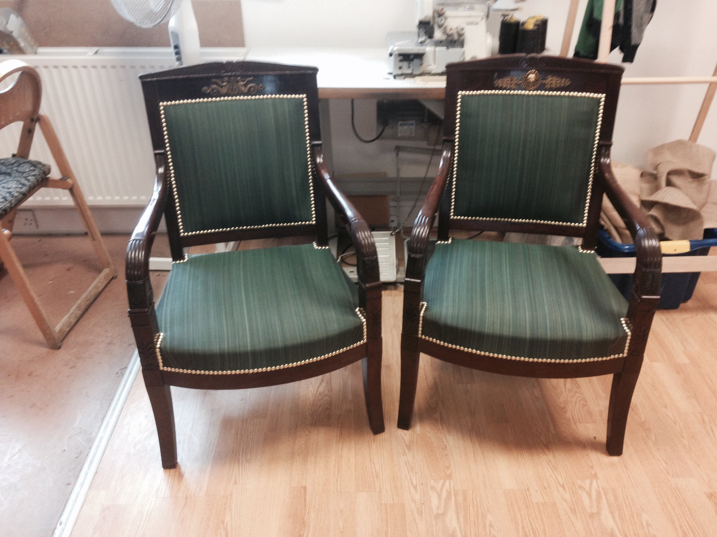 Regency style chairs in horsehair fabric. Edge Upholstery.