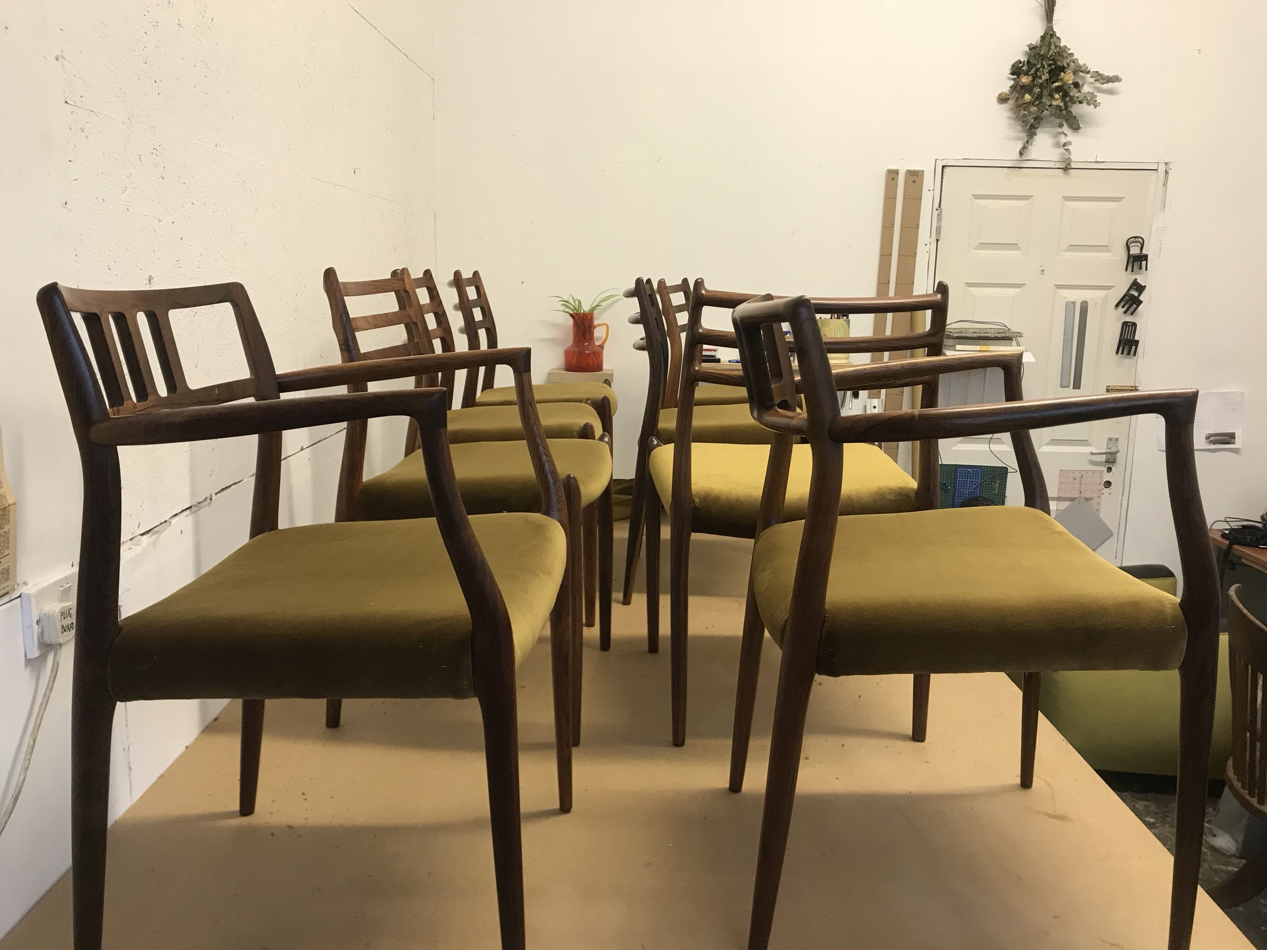 Moller dining chairs. Danish furniture upholstery.