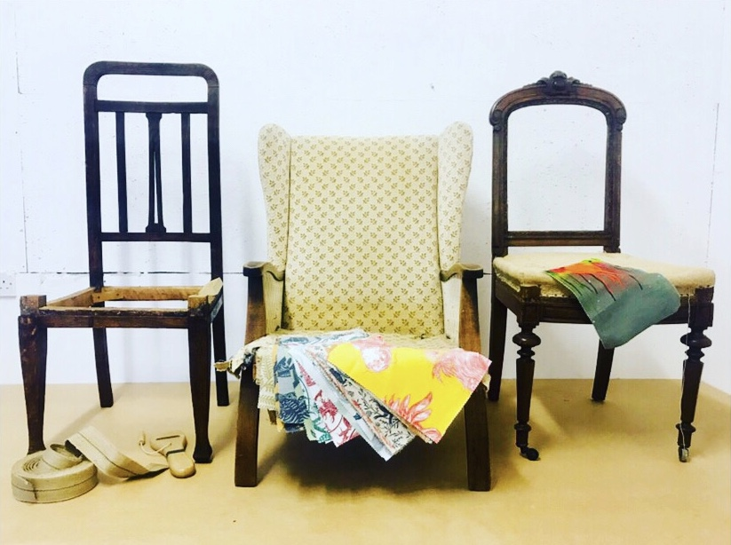 Stripped students chairs, ready to upholster. Upholstery London.