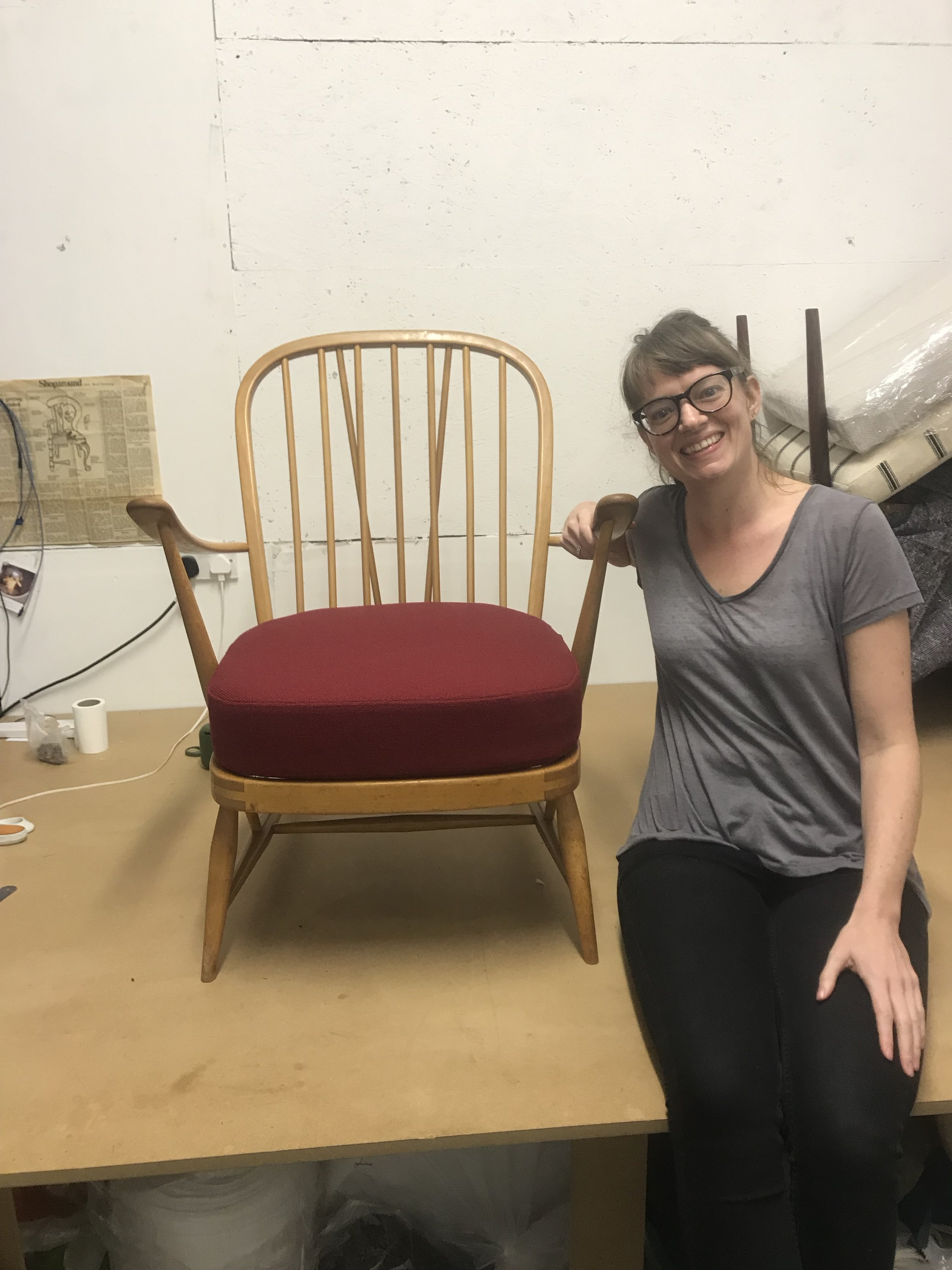 Ercol chair reupholstered by student at Edge Upholstery classes, London.
