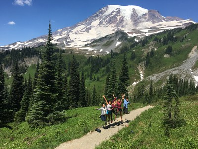 We split up into small groups for a couple hours of hiking at Mt. Rainier before heading back to Seattle.