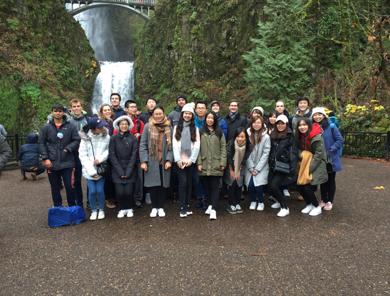 The Portland Global Getaway group at Multnomah Falls