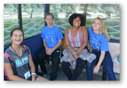 Nadine (second from right) and friends getting ready for an SLCI excursion.