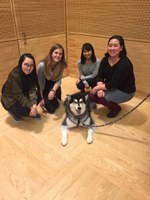 Kelsey (second from left) and other members of the FIUTS team with Dubs!