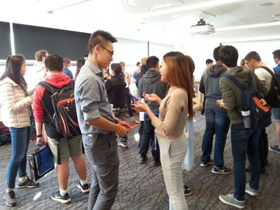 Students getting to know each other at the Welcome Event
