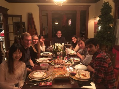 Suzanne and Bill Anderson with FIUTS Thanksgiving students Wendan, Camille, and other guestsSuz
