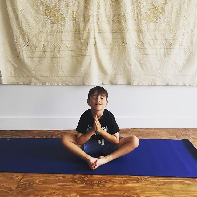 Ekams youngest yogi taking time out of his schools hols to help his mum look after the studio whilst Rosie's on maternity leave. What yoga angels they are! #feelingblessed 🙏🏼 Isaac is sat in Supta Baddha Konasana with his hands in anjali mudra 🕊