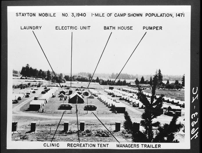 A Federal Transient Camp near Kalamath Oregon. Photo credit: Dorothea Lange.