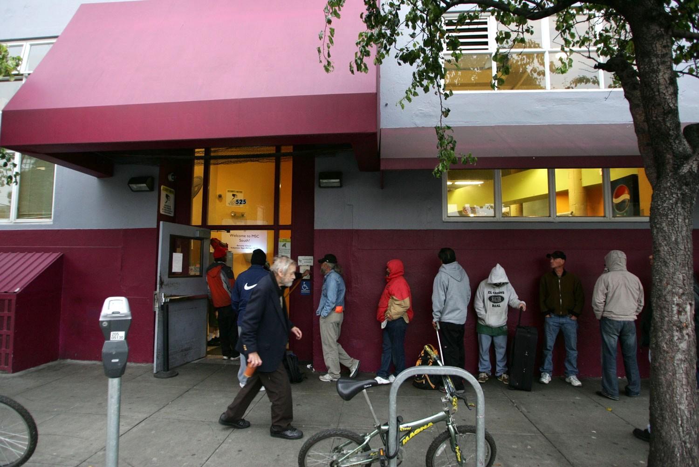 Line outside the Multi-Service Center South, San Francisco