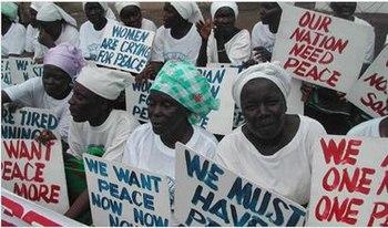 Women protesting for peace in Liberia