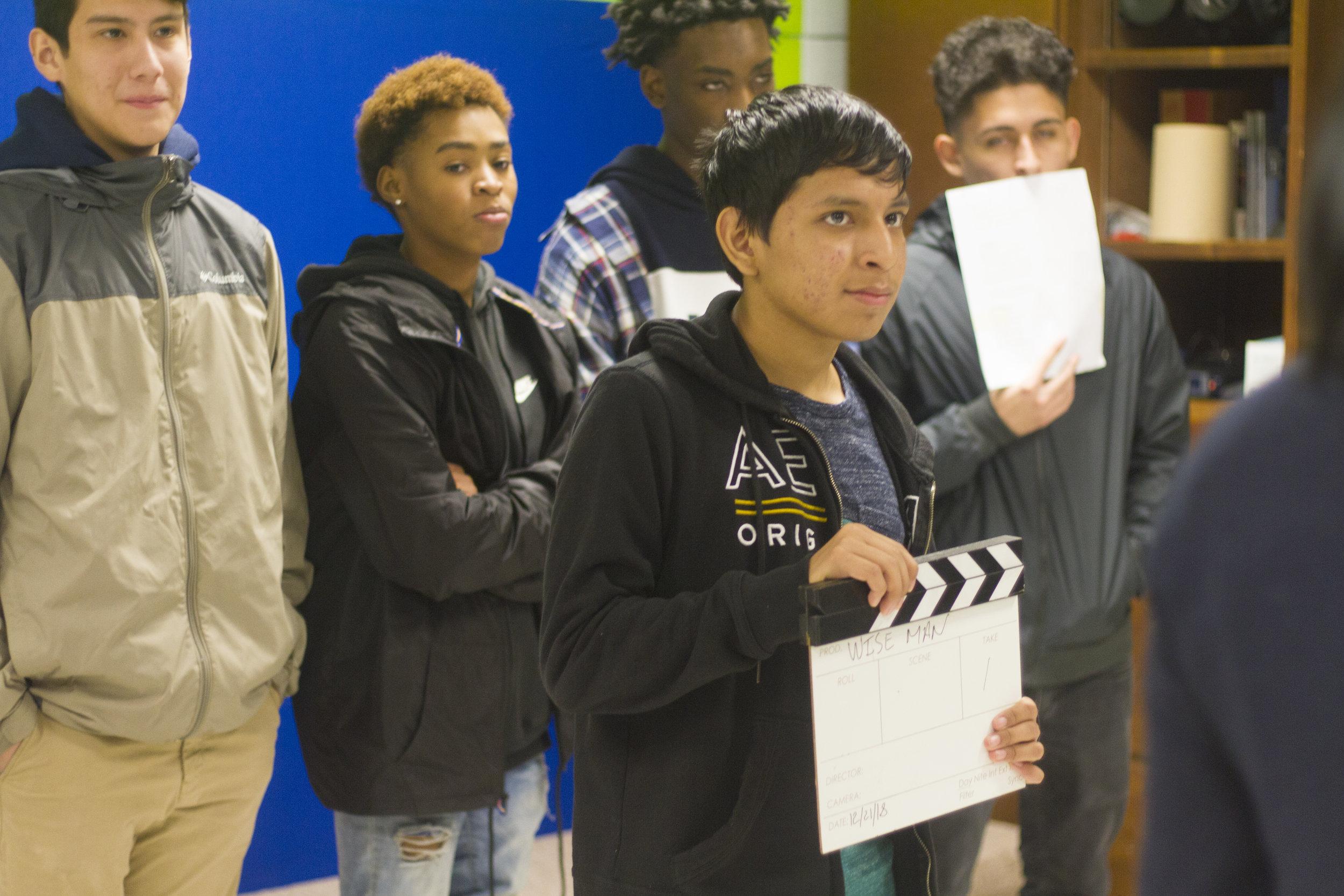 Peekskill High School students on set of music video, 2019