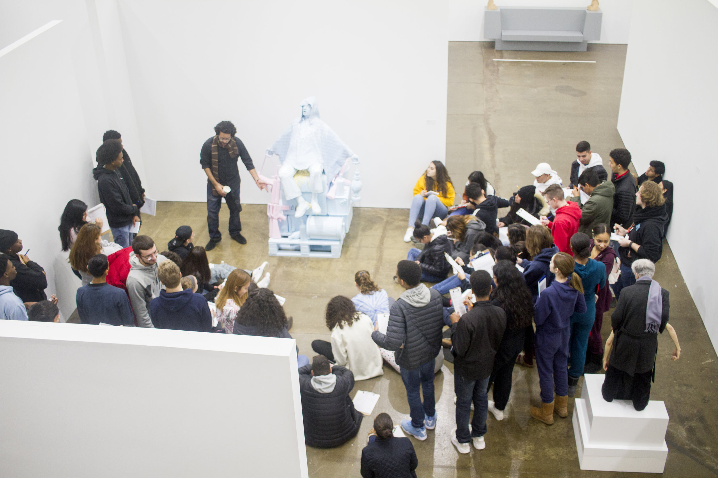 Poet Nick Powers with Young Docents at Hudson Valley MOCA, 2019