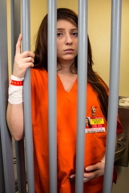 Kaitlyn in Movie Blue Love jail scene.jpg