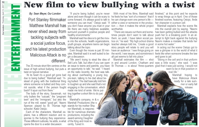 "Article From ""OUR LONDON"" April 2017. Featuring Movie ""Malicious Attack"" made by m & s Marshall Productions."