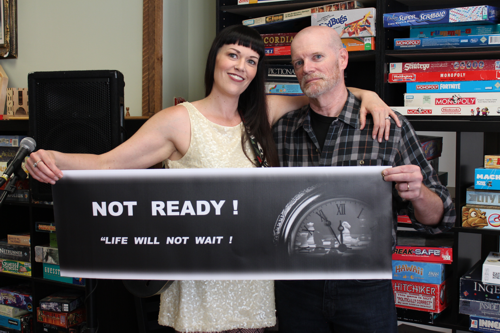"""Leanne Mayer and David Parisian on set of """"Not Ready"""" - at the Cardboard Cafe."""