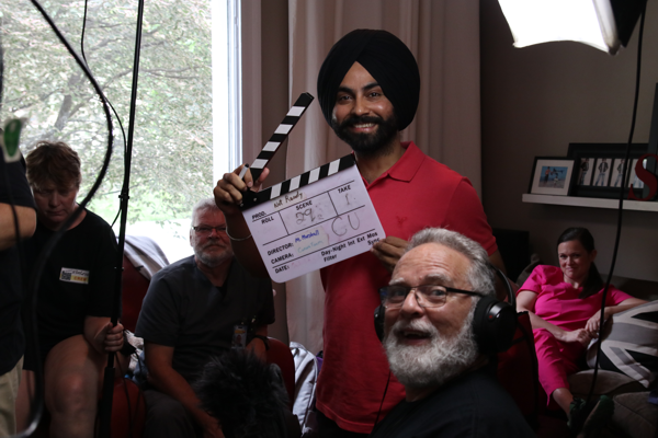 """Amardeep Devgan with Don Hickey of iFilmGroup on set of """"Not Ready""""."""