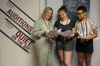 """Three actors awaiting their cue to audition for """"Not Ready"""" the movie at Elgin Theatre Guild, St. Thomas."""