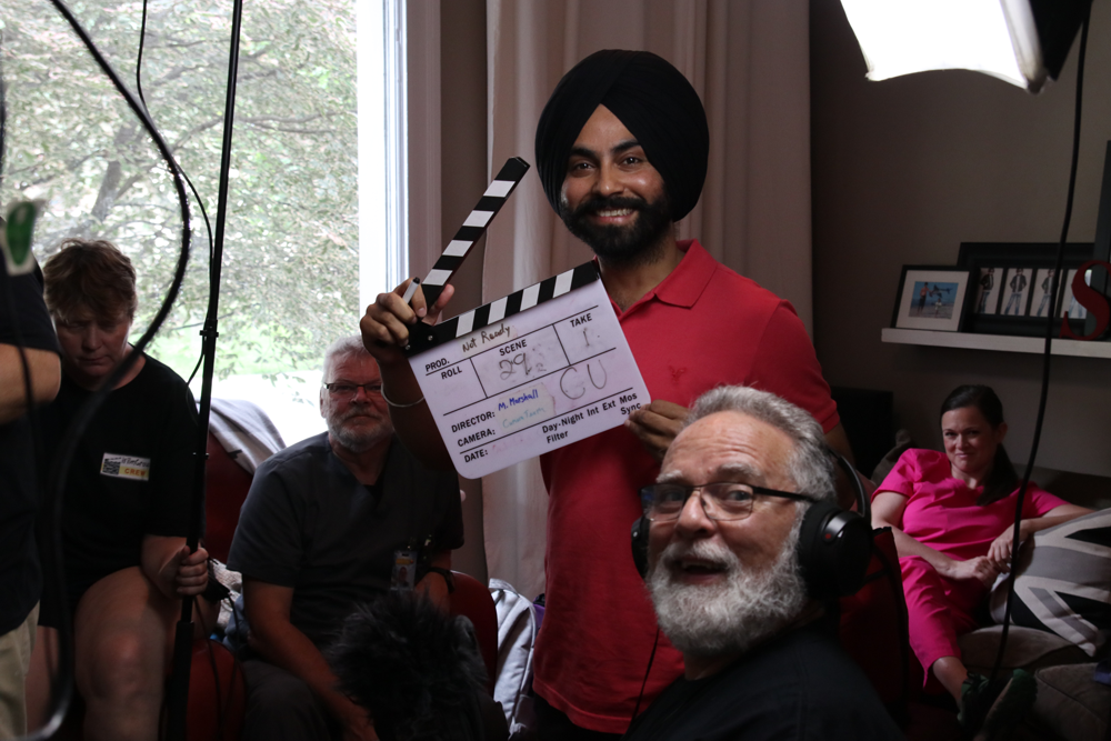 Amardeep Devgan on movie set of Not Ready with Don Hickey iFilmGroup.png