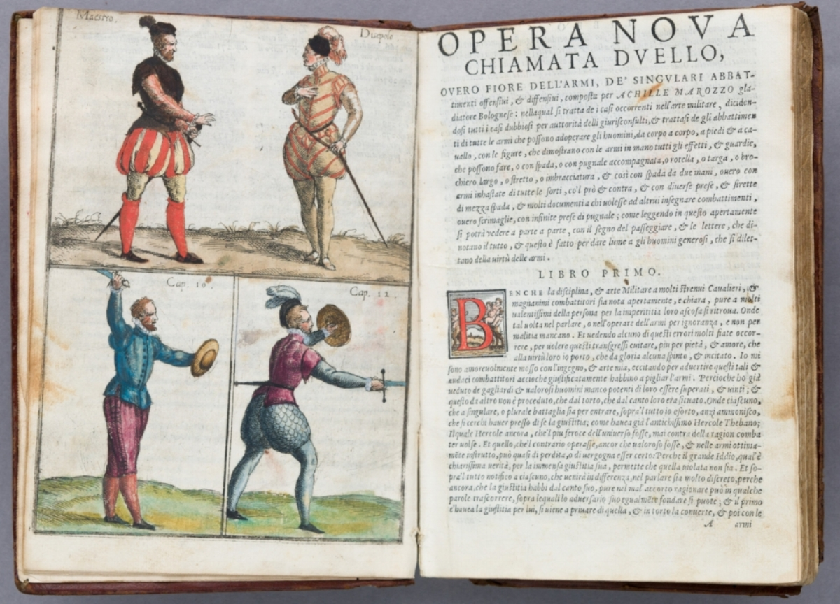 From the beautiful colored 1568 edition of Arte dell'Armi di Achille Marozzo Bolognese in the collection at The Met.