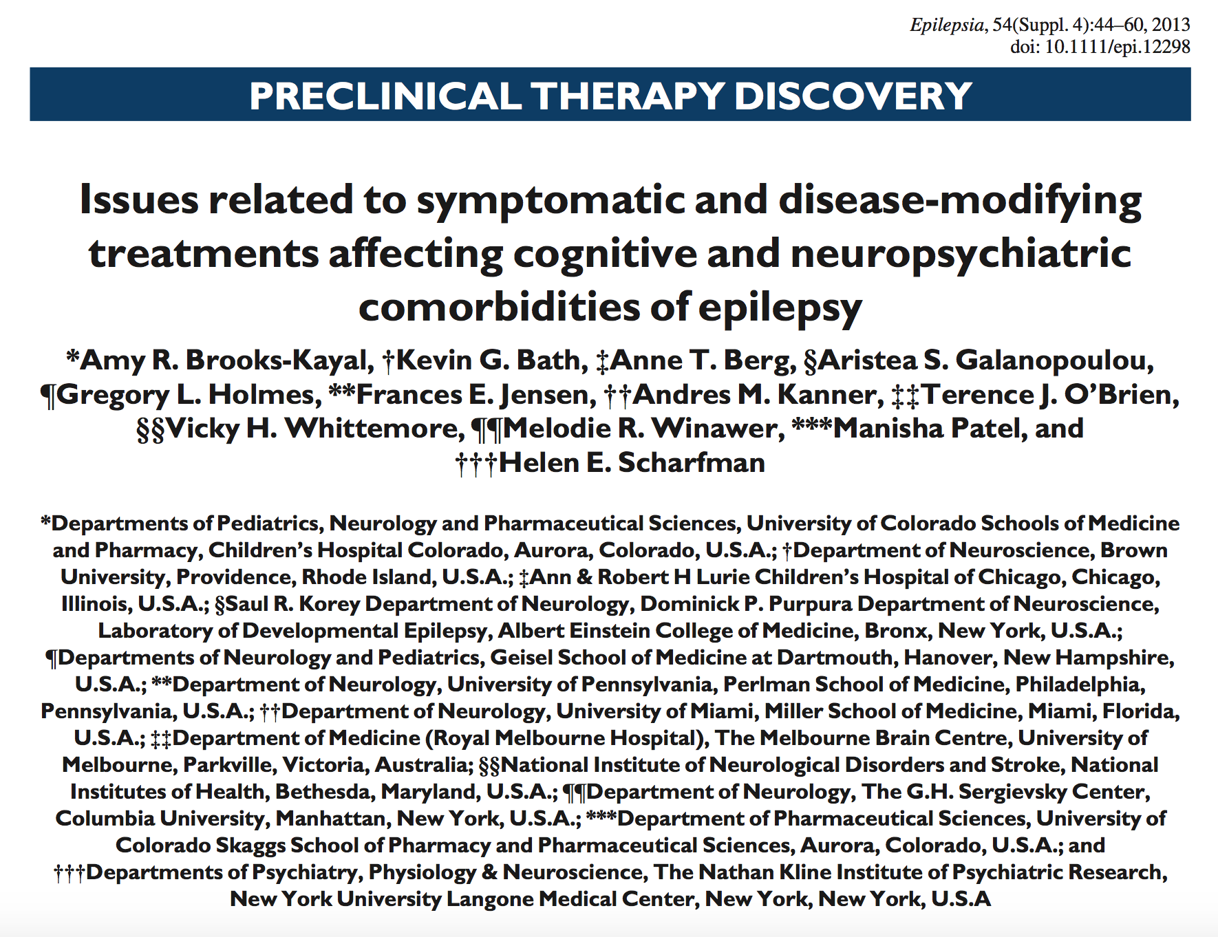 Brooks-Kayal et al., 2013.     Epilepsia.