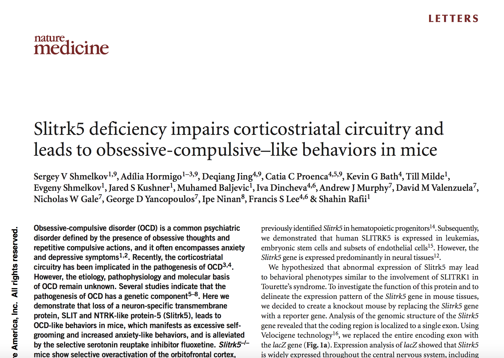 Shmelkov et al., 2010.     Nature Medicine.