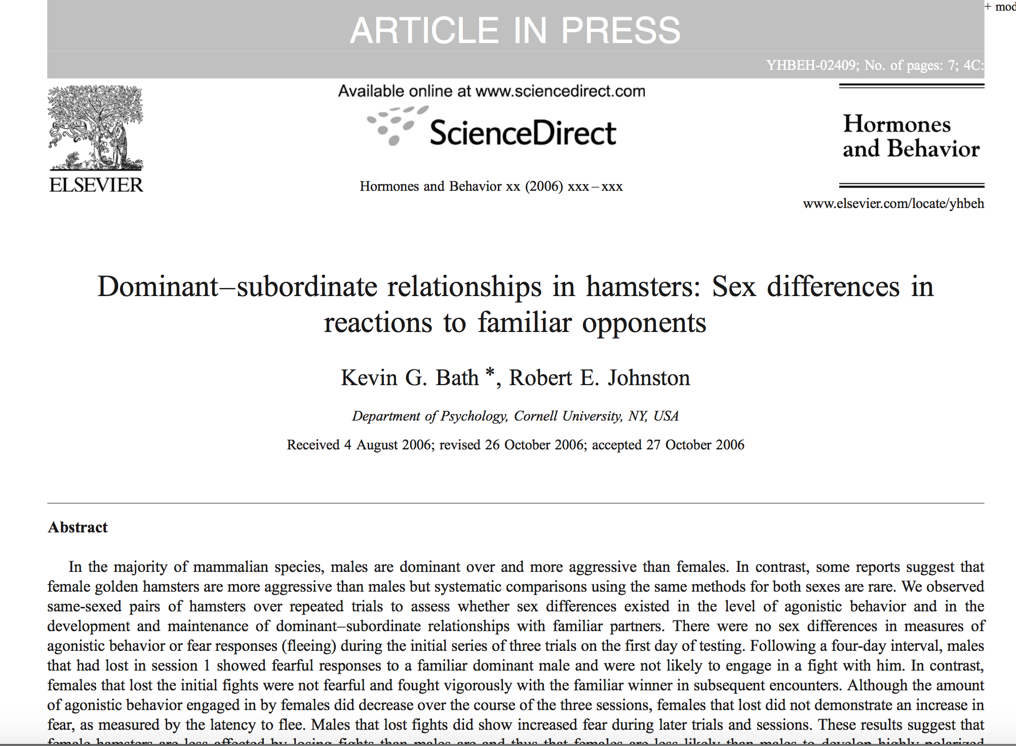 Bath & Johnston., 2007.     Hormones & Behavior.
