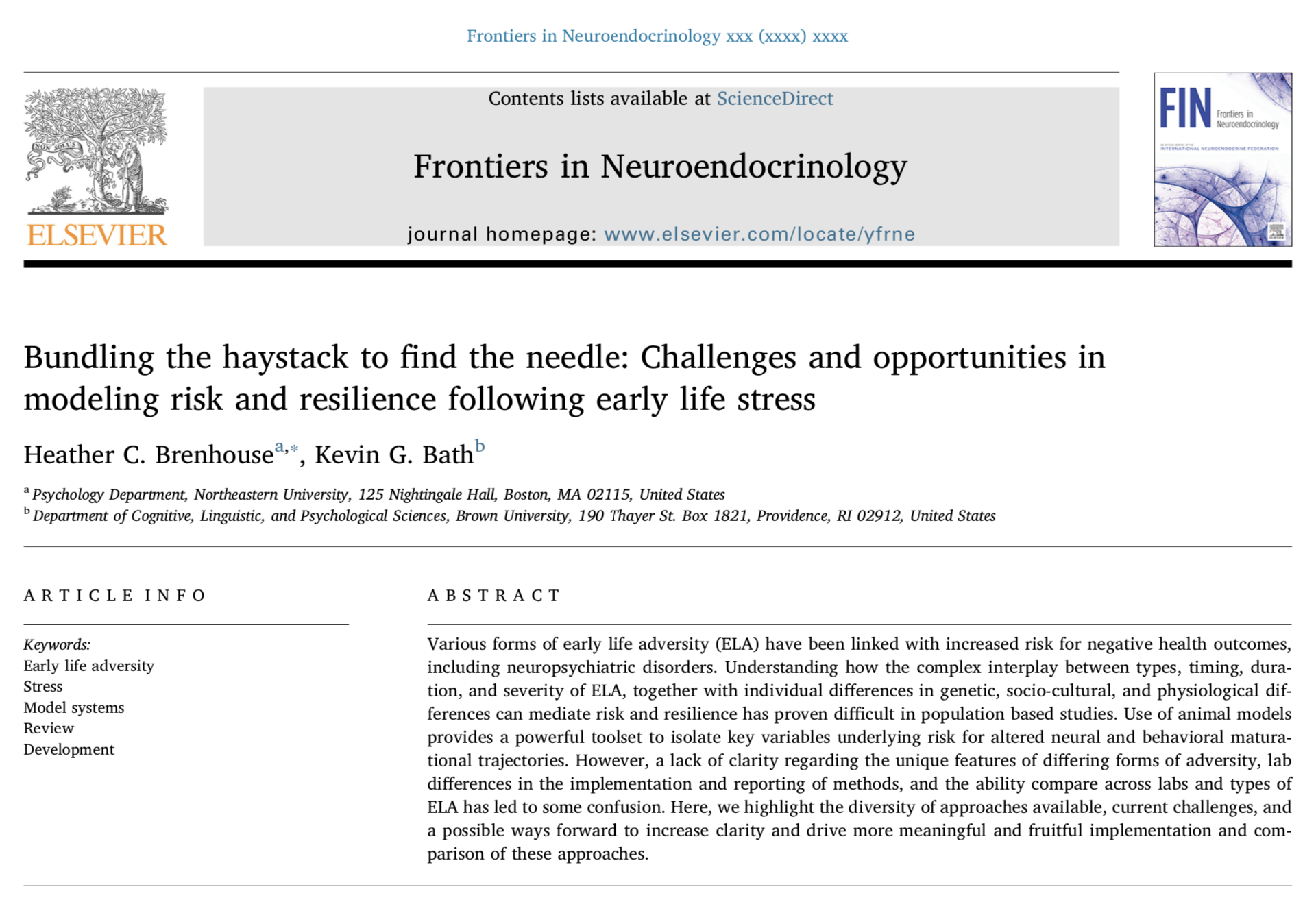 Brenhouse & Bath, 2019.   Frontiers in Neuroendocrinology.