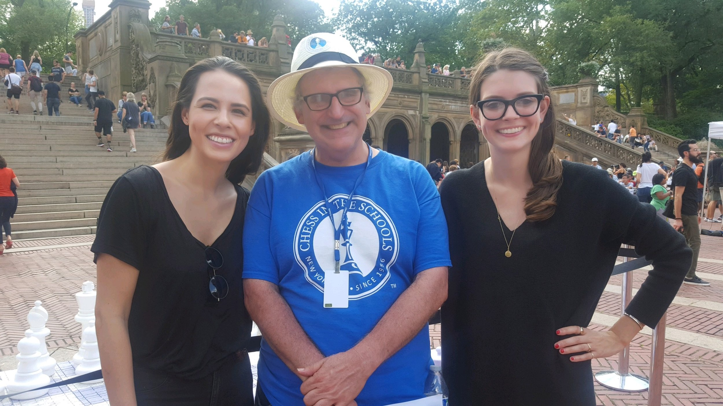Karsten, chess teacher Mitch Fitzko, and Nicole at the 18th annual Chess-in-the-Park