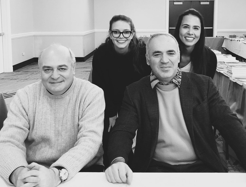 Michael Khodarkovsky (L), Nicole Maffeo, Karsten McVay, former World Champion and Grandmaster Garry Kasparov (R)