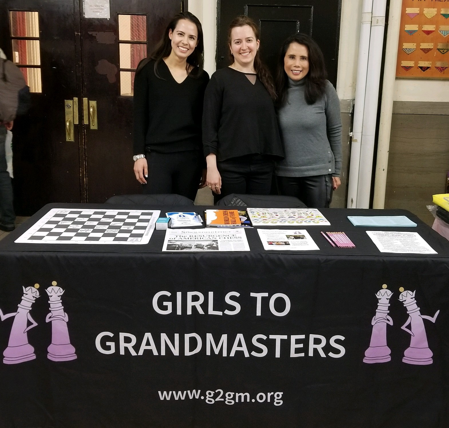 Karsten, Grandmaster Irina Krush, and VP Kimberly at the All Girls NYC Chess Championship, hosted by Chess in the Schools.