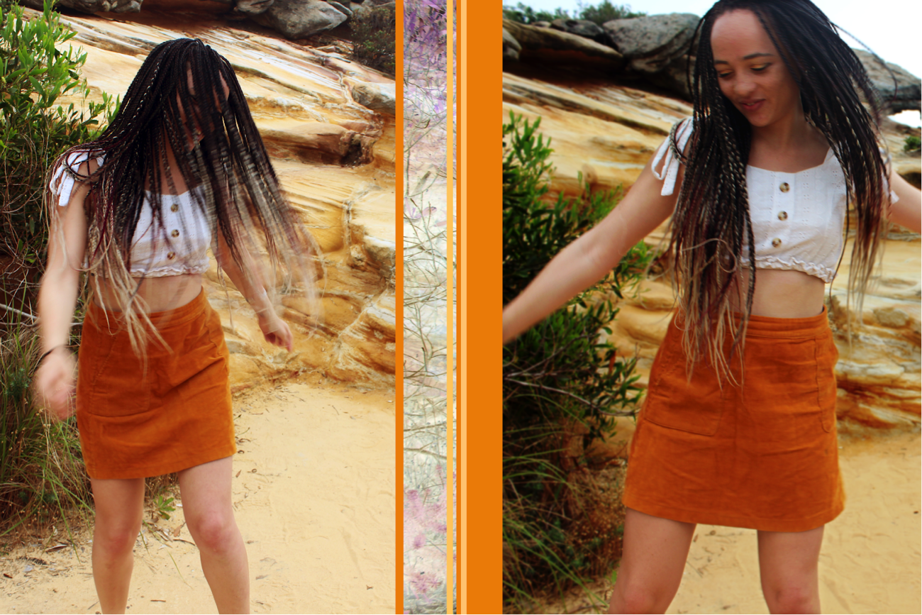 [image description: There are two pictures of Ria dancing in a white crop top and orange skirt, with sandstone in the background. In the left photo, her hair is covering her face. In the right photo, her hair is out of her face and she is smiling. The images are separated by orange and yellow vertical stripes.]