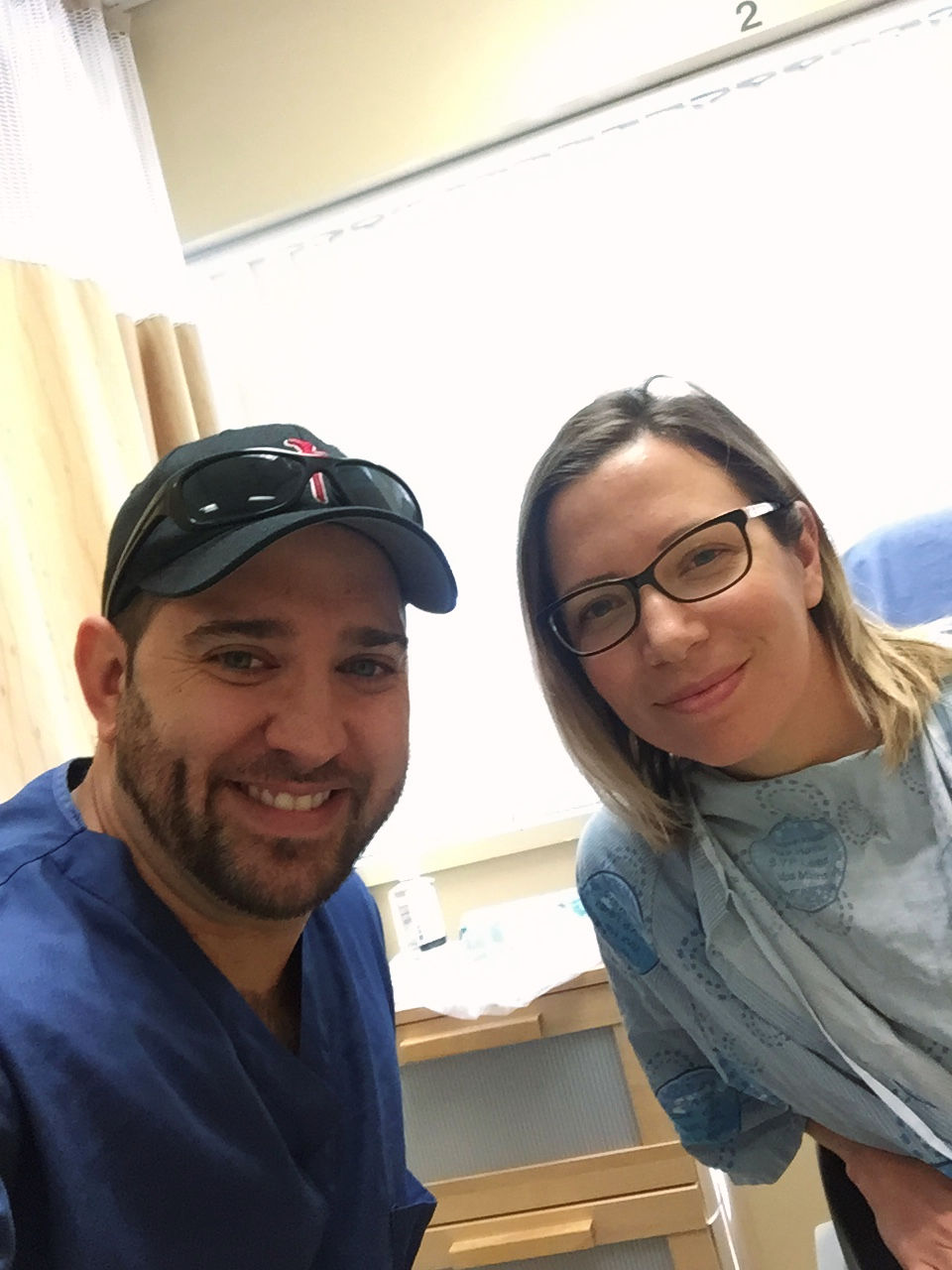 Sandra and her husband, Jason, at their first frozen embryo transfer.