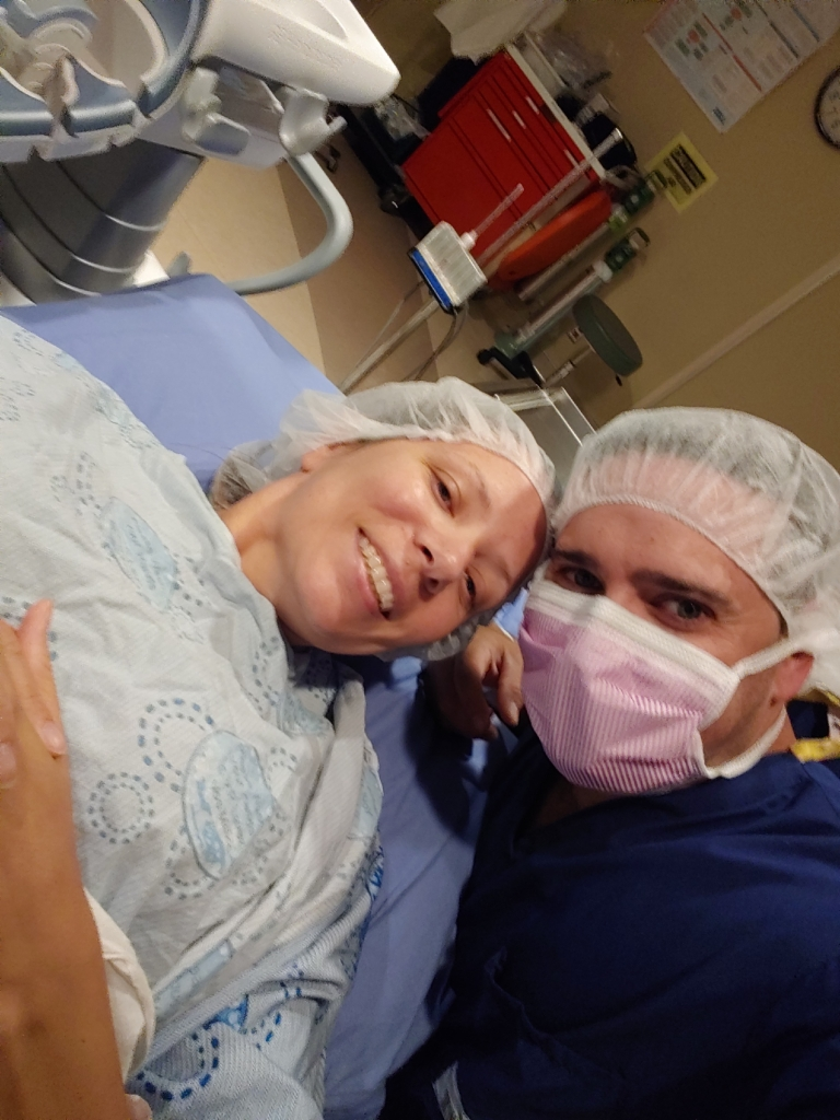 Sandra and her husband, Jason, at their second frozen embryo transfer.