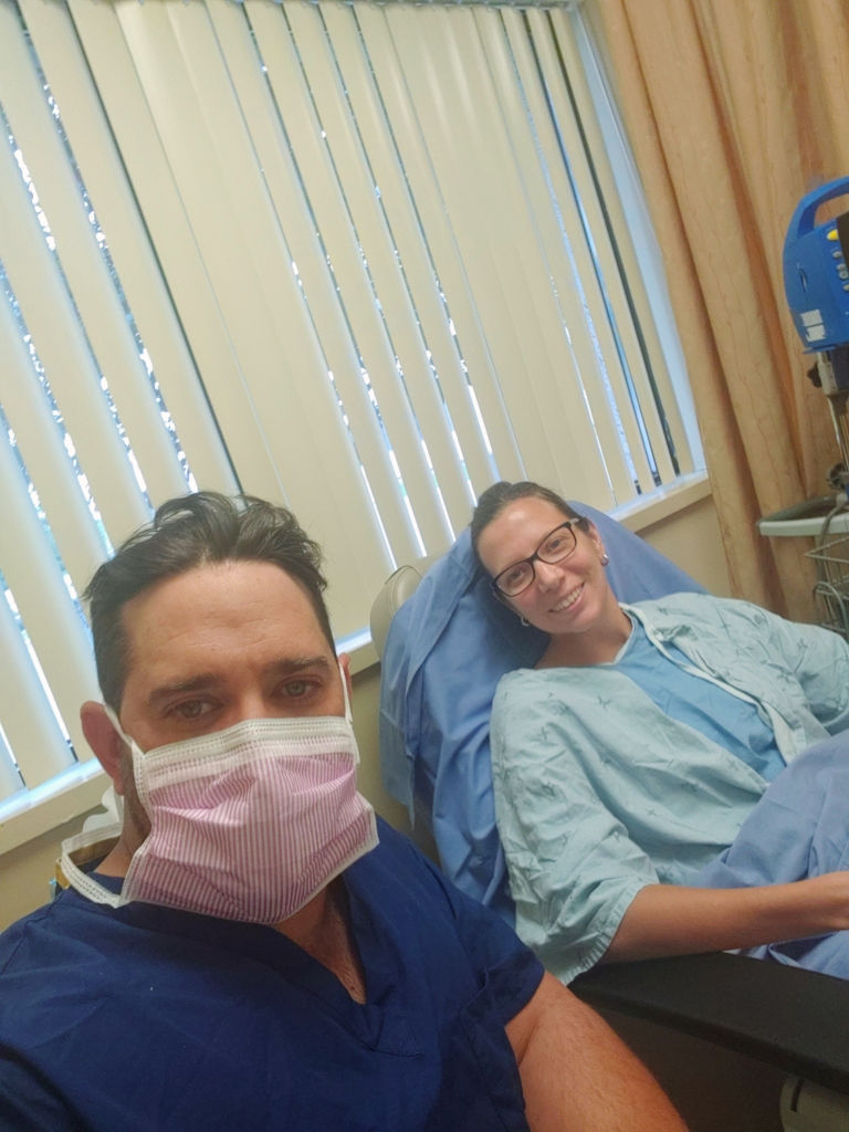 Sandra and her husband, Jason, at their third frozen embryo transfer.