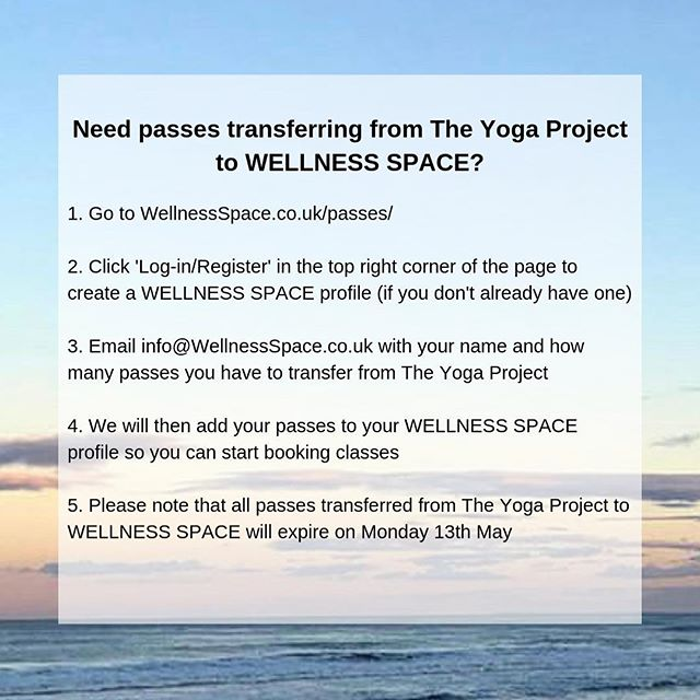 TRANSFERRING PASSES TO WELLNESS SPACE - All the information you need is here. If the website isn't working on your phone, please use a laptop, desktop or another device 🤓Feel free to email us if you have any questions. #newstudio #yogadays #sunderlandyoga #wellnessspaceuk @the_yoga_project