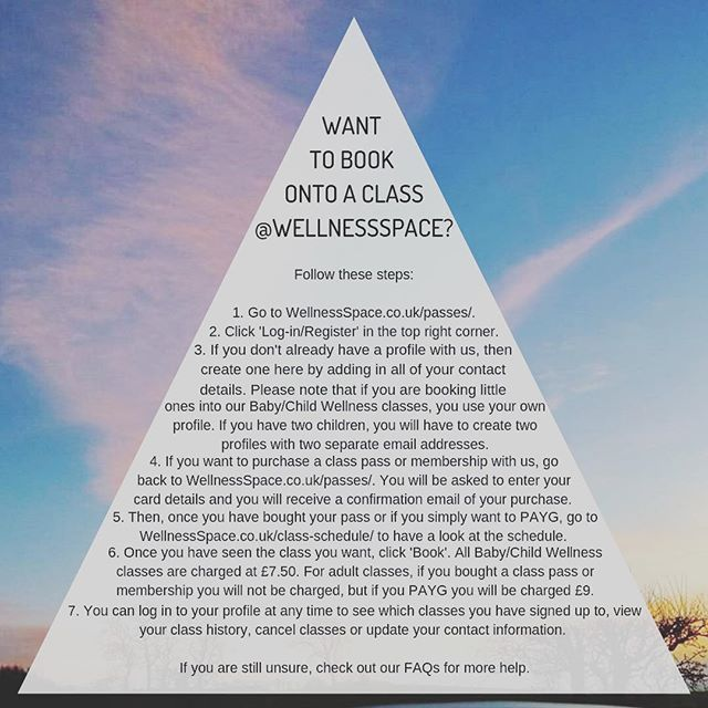 WANT TO BOOK A CLASS - Follow these steps on our website WellnessSpace.co.uk. Once your profile is up and running, then it's easy as pie to work from then on. You can book classes, courses, massage, reiki, workshops, yoga brunches and the @sunderlandwellnessfestival on our website, and see it all on your profile. If you're still unsure, check out our FAQs for more help 🙏🏼 #wellnessspaceuk
