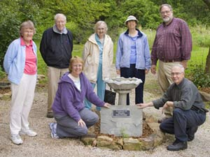 WVAS members join Eslinger family members to dedicate a plaque at Dobbs Park in memory of Pearl Eslinger, a WVAS member who loved butterflies.  Standing L-R: Margaret Tamar, Henry Tamar, Jane Chestnut, Mary Beth Eberwein, Kenneth Eslinger Jr., Kneeling: Karen Henman and James Eslinger.