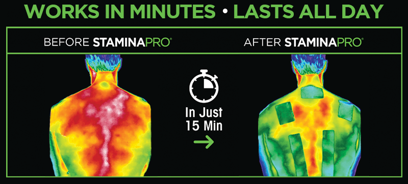 StaminaPro Active Recovery patches reduce inflammation.