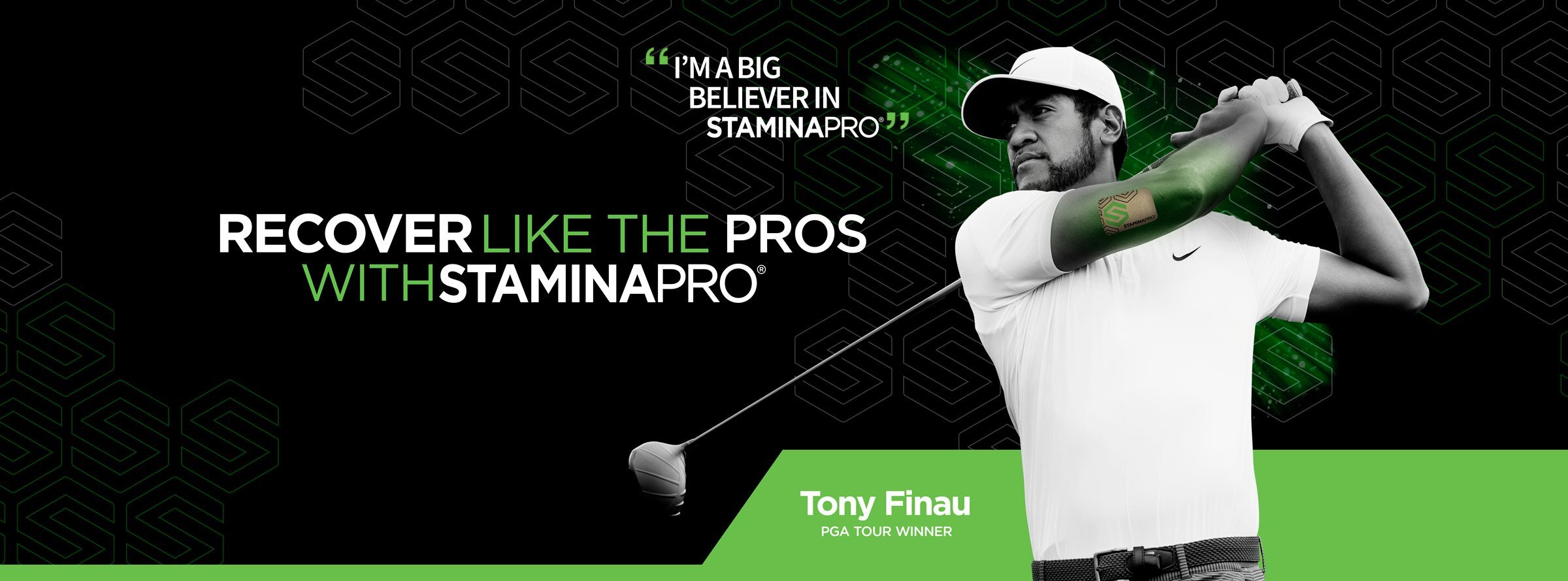 Tony Finau uses StaminaPro Active Recovery patches.