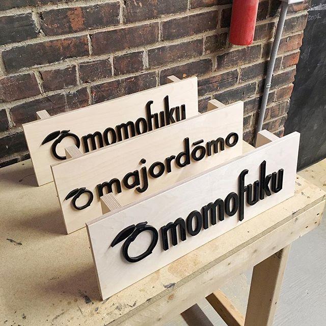 A few trade show signs for @momofukulasvegas @momofukudc and @majordomola  #signage #tradeshow #luckypeach #lasercutting #plywood #woodshop #woodworkingcommunity #makersmovement #woodlovers #makerspace #woodcraft #makeshift #wemakeshift #igerstoronto